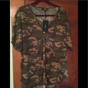 A&B Camo button down top large